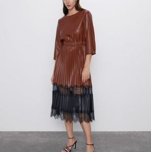 Zara Faux Leather Contrasting Black/Brown Dress